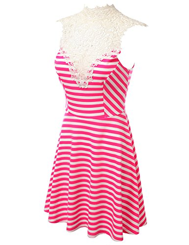 J.TOMSON Womens Sleeveless Striped Midi Dress With Tie Neck & Crochet Detail PINK LARGE