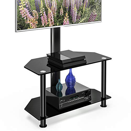 (FITUEYES Floor TV Stand with Swivel Mount and Height Adjustable Flat Curved Screen TV for 32 50 55 inch Vizio/Sumsung/Sony Tvs Max VESA 400x400 TW207502MB)