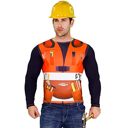 Men's Building Worker Adult Builder Long Sleeve T-shirt Costume (Large)