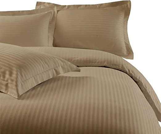SUPER KING DUVET COVER SET LINEN BEIGE HOTEL EGYPTIAN COTTON 400 THREAD COUNT