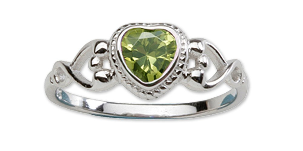 Sterling Silver August CZ Simulated Birthstone Baby Ring with Heart