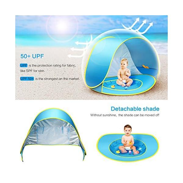 CeeKii Tienda Playa Bebe, Pop-up Tienda de bebé con Piscina para Infantil Carpa Plegable Portátil Protección Solar Anti… 1