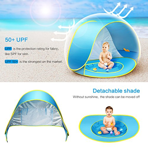 CeeKii Baby Beach Tent Kids Pop Up Tent Portable Sun Shade Kiddie Tent Pool with Canopy UPF 50 UV Protection Sun Shelter for Babies Toddlers Infants