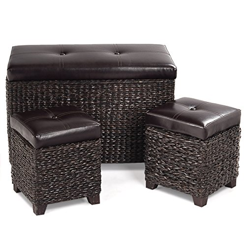 Leather Dark 3 Piece Brown (Giantex 3-Piece Rattan Storage Bench and Ottoman Stools Cubic Storage Hassocks Foot Rest Decoration Furniture Leather Padded Seat (Brown/3-Piece))