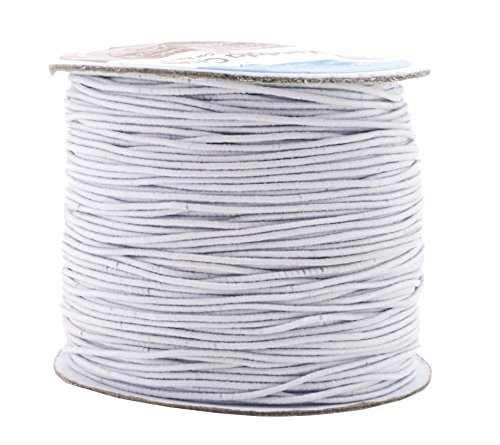 Mandala Crafts 1mm 109 Yards Round Rubber Fabric Covered Elastic Cord, Stretch String for Beading, Jewelry Making, Masks, DIY Crafting (White) by Mandala Crafts