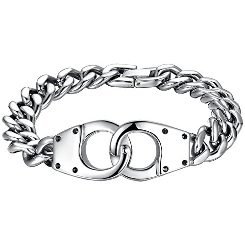 Men's Stainless Steel Handcuffs Curb Chain Bracelet , ccb067
