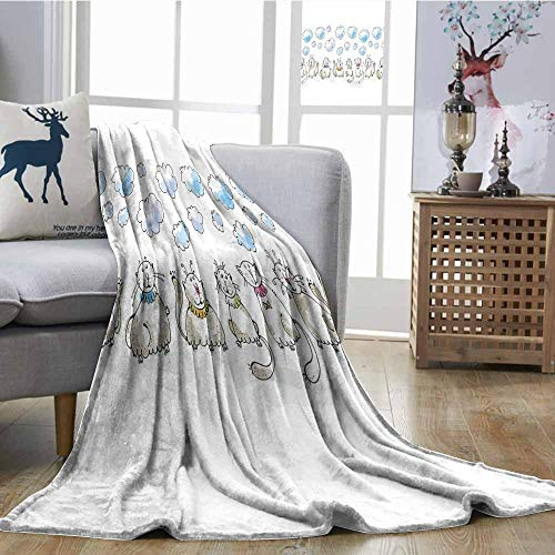 SONGDAYONE Blanket Baby Easy to Care Clouds with Closed Eyes Cats Sitting Collars Cute Cartoonish Animal Drawing Feline Dusk Baby Blue W63 xL63]()