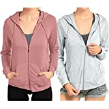 Sofra Women's Thin Cotton Zip up Hoodie Jacket (Medium, 2 Pack- Mauve/H.Grey)