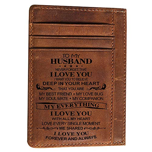 Engraved Pocket Wallet To My Son Dad Husband, Personalized Gift Slim Cards Case Money Clips (TO HUSBAND -Chocolate)