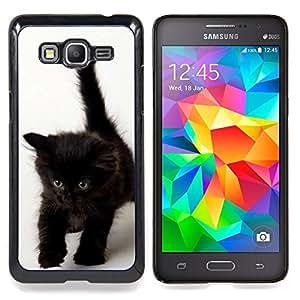 For Samsung Galaxy Grand Prime SM-G530F G530FZ G530Y G530H G530FZ/DS , Ojos Marrón Azul Oscuro Gatito - Diseño Patrón Teléfono Caso Cubierta Case Bumper Duro Protección Case Cover Funda