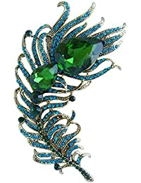 "Elegant 4.33"" Rhinestone Crystal Peacock Feather Brooch Pin Pendant BZ5038"