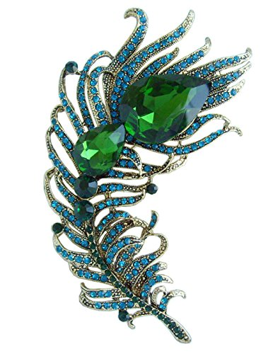 "4.33"" Rhinestone Crystal Peacock Feather Brooch Pin Pendant BZ5038 (Gold-Tone Green)"