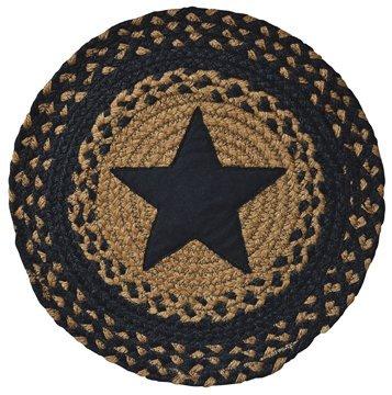 Appliquéd Star Braided Round Table Mat Black Tan Country Primitive Décor