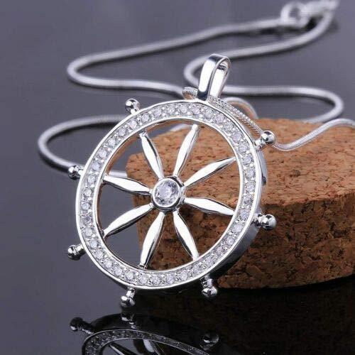 Jewelryjintarawateestore Solid Charm 925 Silver Fashion Cute Ladies Crystal Zircon Round Necklace Jewelry