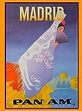 Madrid Spain Espana Senorita Spanish Pan Am Airlines European Vintage Travel Advertisement Poster