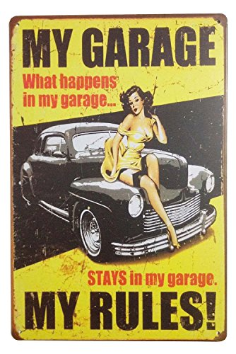ERLOOD My Garage My Rules Retro Decor Vintage Poster Tin Signs 12