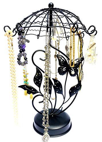 Drop It Bangles (Butterfly Carousel Handmade Spinning Metal Jewelry Tree Organizer, Necklace + Earring Holder, Bracelet, Watch, & Ring Display Stand For Girls + Women (Copper or Black))