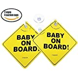 Now with 4 Stronger Suction Cups (2 Bonus Ones). Baby on Board car Sign with Suction Cup. Heat Resistant and Very Effective Suction Cup. Effective in All Weather (Winter, Summer, RAIN)