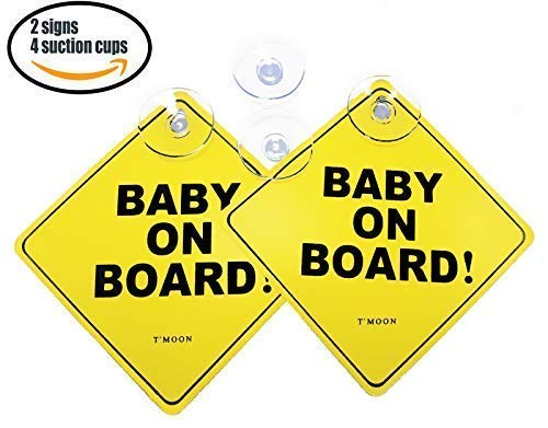 Baby on Board car Sign with Suction Cup Heat Resistant and Very Effective Suction Cup Winter, Summer, RAIN 2 Bonus Ones Effective in All Weather Now with 4 Stronger Suction Cups