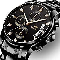 OLMECA Men's Watches Luxury Wristwatches Rhinestone Watches Waterproof Fashion Quartz Watches Stainless Steel Black Watch
