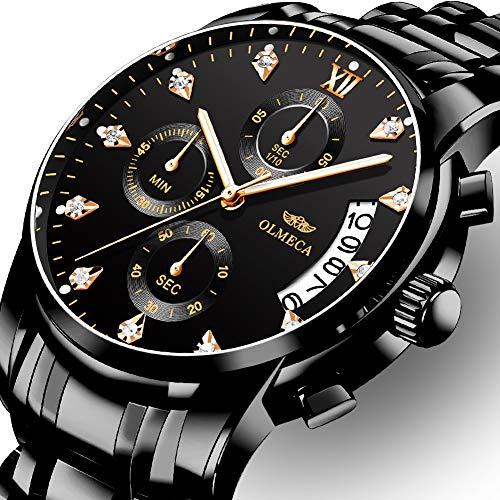 OLMECA Men's Watches Luxury Wristwatches Rhinestone Watches Waterproof Fashion Quartz Watches Stainless...