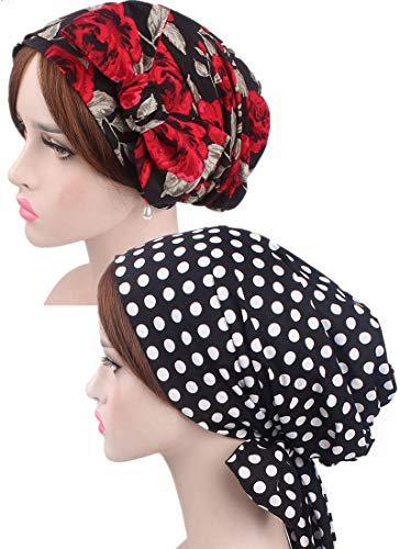 Turban Head Scarf for Women, FashionFloral Chemo Headwear Headscarf Patients Head Covering Chemo Caps Cancer Hats Bandana Tichel for Hair Loss (Rose Polka Dot)