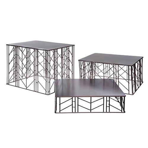 G.E. T. Square Bronze Powder-Coated Wrought Iron Metal Riser Set