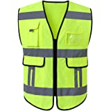KKmoon 120155 Reflective Safety Vest High Visibility Safety Vest Bright Neon Color Breathable Vest with 2-inch Reflective Strips for Construction sanitation Worker Roadside M Size