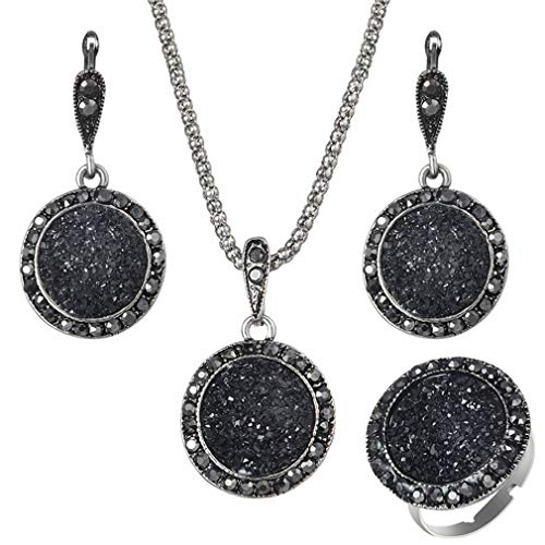 Dolland Black Round Gravel Resin Necklace Earrings Ring Set Fashion Antique Retro Gem Stone Jewelry Sets for Women