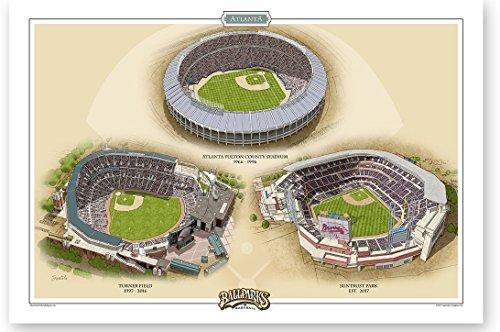 Atlanta Fulton Stadium (Ballparks of Baseball Atlanta Horizontal 13x19 Print by Jeff Suntala)
