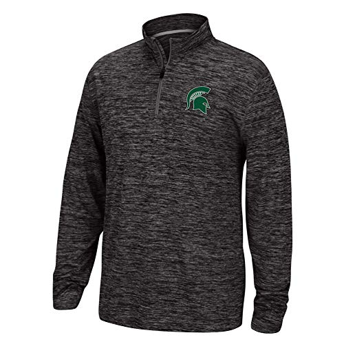 (Top of the World NCAA Men's Michigan State Spartans Team Color Space Dyed Poly Quarter Zip Pullover Black Large)