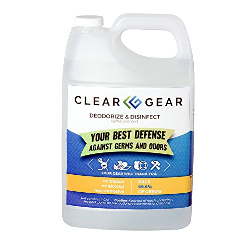 Gear Equipment (Clear Gear Disinfecting Spray 1 Gallon Bottle - Kills MRSA, Staph, Strep and Odor-Causing Bacteria In Athletic Facilities, Equipment, Tactical Gear and Training Centers)