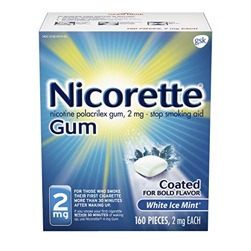 Nicorette 2mg Nicotine Gum to Quit Smoking – White Ice Mint Flavored Stop Smoking Aid, 160 Count