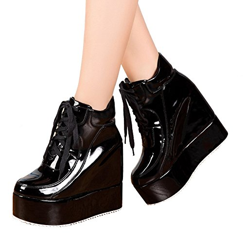 getmorebeauty Womens Hidden High Heel Platform Sneakers Wedge Lace Up Chelsea Punk Patent Ankle Boots Black 2yiXC