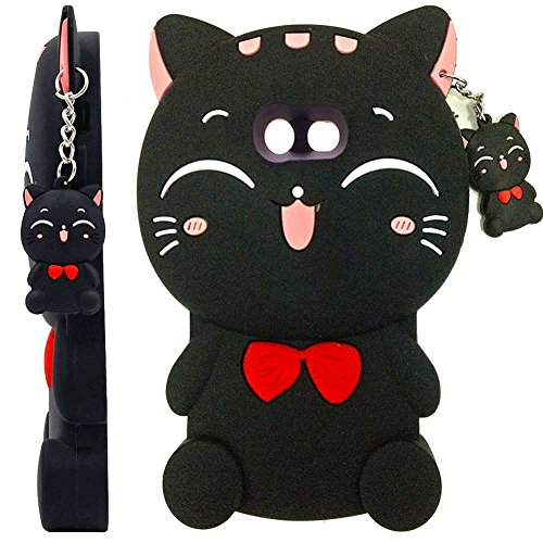 (Galaxy J7 V Case,Galaxy J7 Prime Case,J7 Perx Case,J7V Case,J7 Sky Pro Case, Skmy 3D Black Lucky Fortune Cat Kitty with Cute Bow Tie Silicone Rubber Phone Case Cover for)