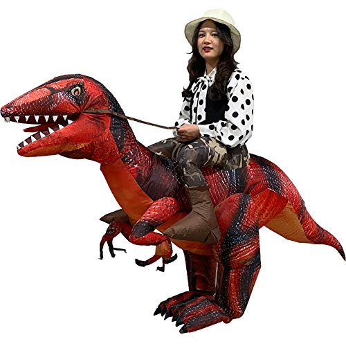 Vantina Adults Velociraptor Inflatable Dinosaur Costume T-Rex Fancy Dress Halloween -