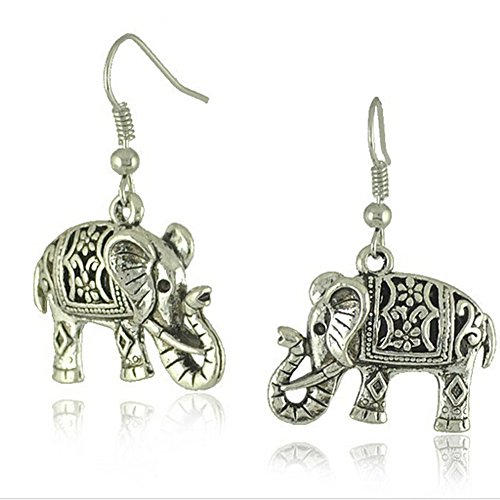 Elakaka Women's Retro Tibetan SilverDimensional Carved Elephant Earrings