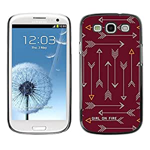 Flecha Fuego Texto Texto Castaño Castaño - Metal de aluminio y de plástico duro Caja del teléfono - Negro - Samsung Galaxy S3