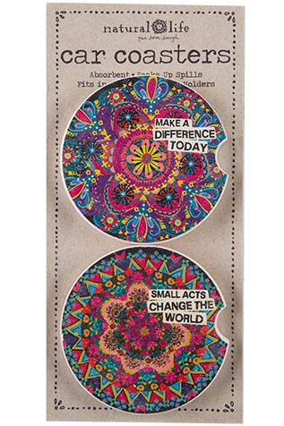 (Natural Life Car Coasters Set of 2, Make a Difference Today & Small Acts Change The World)