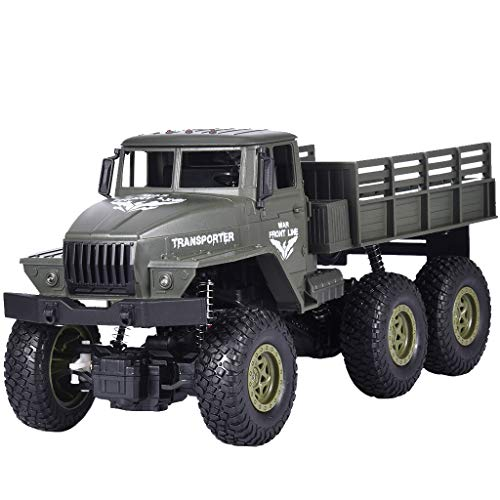 Fine Remote Control Truck Army Toys for Boys, Kids 1/16 RC Military Truck 4wd, Remote Control Car Electric Off Road Military RC Trucks Vehicle Great Gift (Army Green)