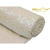 ShinyBeauty Sequin-Aisle-Runner-Iridescent White-30FTx4FT, Sequin Carpet Runner Shimmer Wedding Aisles Floor Runner