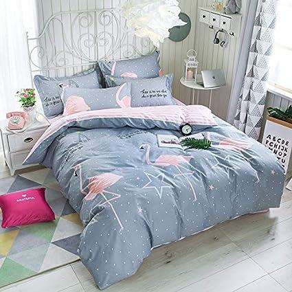 Amazon Com Jx Lecal Home Bedding Set Flamingo Striped Bed Cover Set