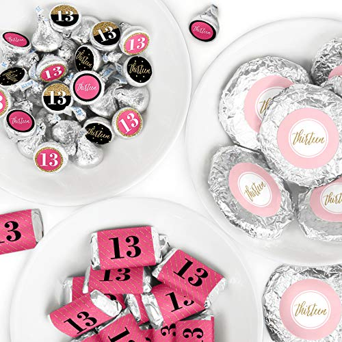 Chic 13th Birthday - Pink, Black and Gold - Mini Candy Bar Wrappers, Round Candy Stickers and Circle Stickers - Birthday Party Candy Favor Sticker Kit - 304 Pieces -