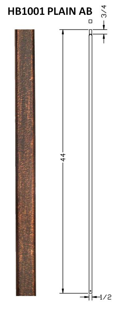 Hollow Metal Stair Baluster Spindle PLAIN BAR 1/2'' X 44'' (Box of 10) (Antique Bronze)