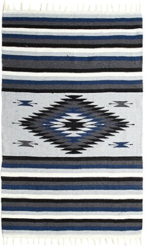 El Paso Designs Beautiful Blanket with Intricate Mexican Saltillo Diamond, Hand-Woven, Heavy Weight 6.7' x 4' (Jalisco)