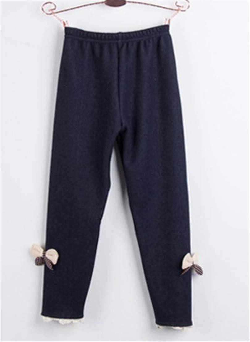 Cromoncent Girls Bowknot Kids Fleece Trousers Pants Leggings