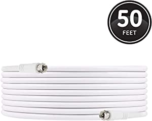 GE RG6 Coaxial Cable, 50 ft. F-Type Connectors, Double Shielded Coax, Input Output, Low Loss Coax, Ideal for TV Antenna, DVR, VCR, Satellite Receiver, Cable Box, Home Theater, White, 33605