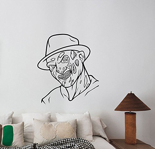 Freddy Krueger Wall Art Decal Removable Vinyl Sticker A Nightmare On Elm Street Decorations for Home Living Dorm Room Bedroom Office Horror Movie Decor krg3 -
