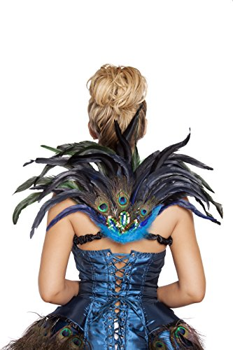 Tail Feather Costume (Roma Costume Women's Mini Peacock Tail Feather, Multi, One Size)