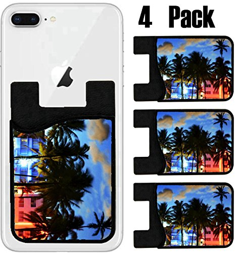 (MSD Phone Card holder, sleeve/wallet for iPhone Samsung Android and all smartphones with removable microfiber screen cleaner Silicone card Caddy(4 Pack) Miami Beach Florida hotels and restaurants at s)